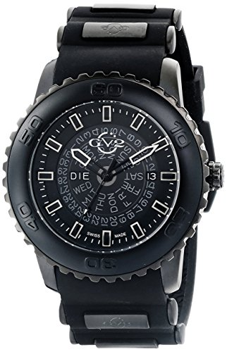 GV2 by Gevril Aurora Mens Swiss Quartz Black Silicone Strap Watch, (Model: 9700) (9700 Silicone)