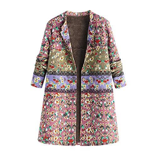 Plush Tasca Spessa stampata Invernali sfuso Cappotto Vintage Lunga Size con Zodof Cotone Pink Donna Donna Large Cerniera Print6 Saldi Calda Giacca cappuccio waqFv