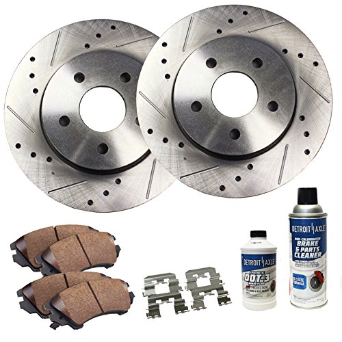 (Detroit Axle - 4WD Front Drilled & Slotted Disc Brake Rotors & Ceramic Pads w/Clips & BRAKE CLEANER & FLUID for 2003-2011 Ranger - [03-07 B3000] - [03-09 B4000] - [2001-2005 Explorer Sport Trac 4WD])