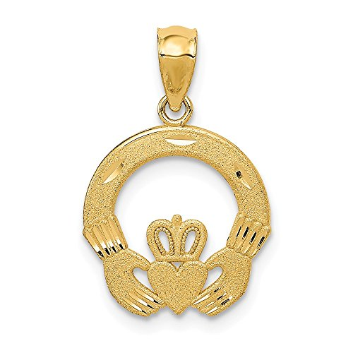 (14k Yellow Gold Irish Claddagh Celtic Knot Pendant Charm Necklace Fine Jewelry Gifts For Women For)