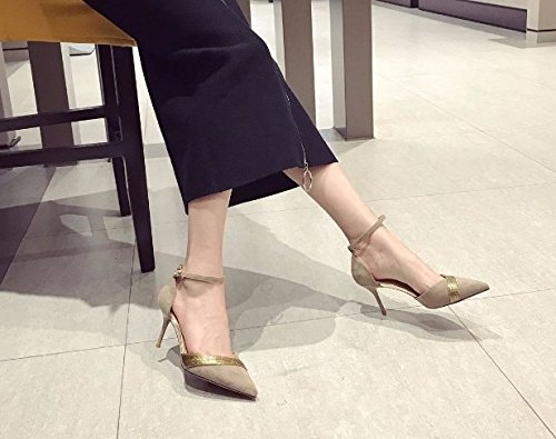 Suede Color Shallow Mouth Buckle With Hit Work 7Cm Shoes Fine MDRW Mauve High Elegant Heels Shoes Leisure 35 Point Hollow Spring A Lady q7X870