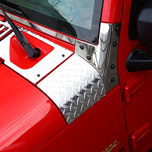 KUJOOY Pair Durable Car Body Side Armor Cowl Cover Trim for Jeep Wrangler JK (Silver)