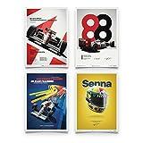 Automobilist Store McLaren MP4/4 - Ayrton Senna - Set - Unique Design Posters - Standard Poster Size 19 ¾ x 27 ½ Inch