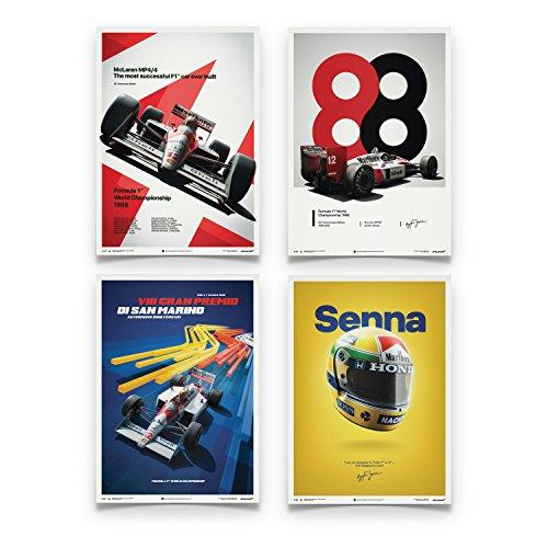 Automobilist Store McLaren MP4/4 - Ayrton Senna - Set - Unique Design Posters - Standard Poster Size 19 ¾ x 27 ½ Inch by Automobilist Store