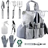 NOUVCOO Upgraded Garden Tool Set with Plant Ties,10 Pieces Stainless Steel Hand Tool Kit,Durable Storage Tote Bag,Pruner,Shovel,Fork,Rake,Shears,Weeder,Gloves,Water Sprayer,Plant Ties NC24