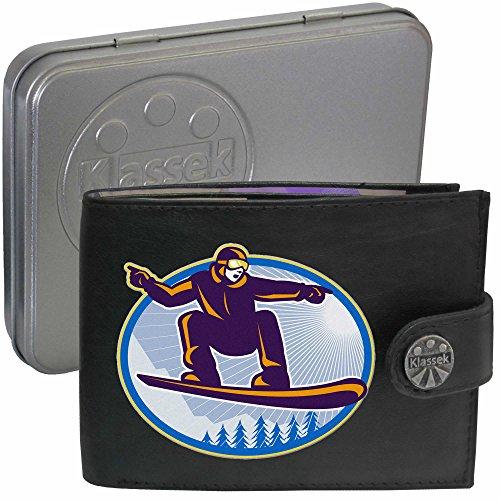 Snow Boarder on Snow Board Snowboard Klassek Herren Geldbörse Portemonnaie Brieftasche Wintersport aus echtem Leder schwarz Geschenk Präsent mit Metall Box