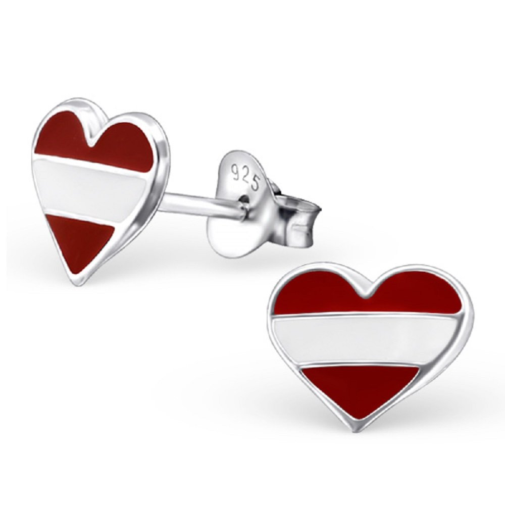 925 Sterling Silver Austria Heart Stud Earrings 22118