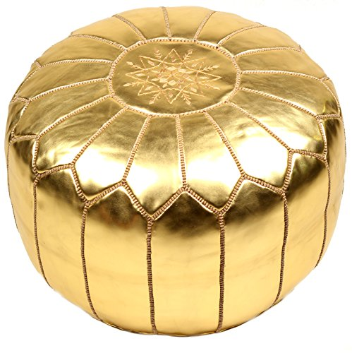 Casablanca Market Moroccan Embroidered Faux Metallic Cotton Stuffed Leather Pouf, Gold (Casablanca Chair)