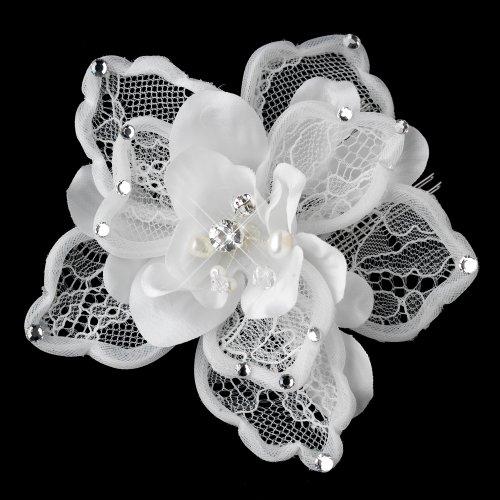 - Abigail Freshwater Pearl, Swarovski Crystal Bead & Rhinestone Diamond White Matte Satin Mesh Fabric Flower Comb Wedding Bridal Special Occasion