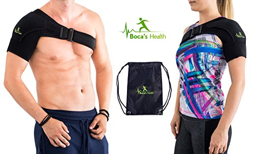 Shoulder Brace with Pressure Pad - for Women and Men - Breathable Neoprene - Stability and Injury Prevention - Shoulder Support for Rotator Cuff Dislocated AC Joint Labrum Tear Shoulder Pain by Boca's Health