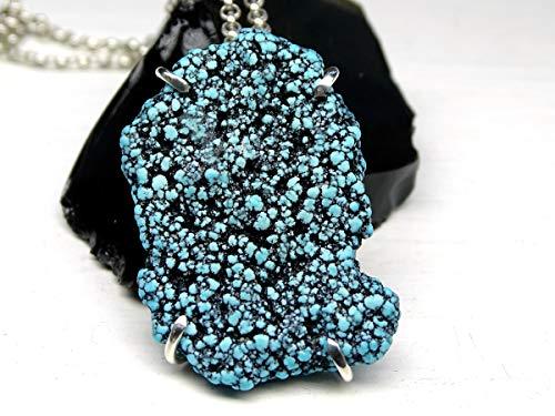 - big turquoise pendant, spiderweb turquoise pendant, natural Kingman turquoise necklace, blue turquoise nugget pendant mens turquoise neclace