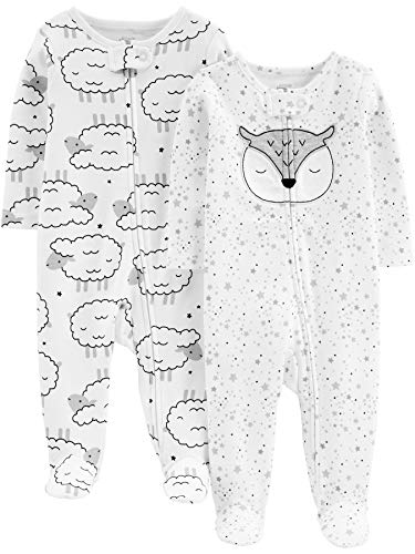 Simple Joys by Carter's Baby Neutral 2-Pack Cotton Footed Sleep and Play, Sheep/owl, 0-3 Months
