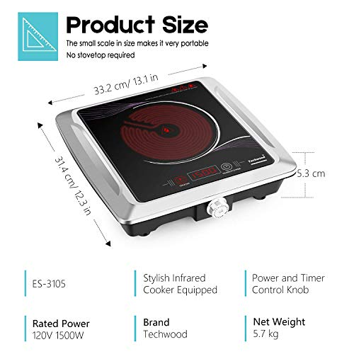 Techwood Hot Plate Electric Burner Portable Single Burner Infrared Cooktop 1500W with Adjustable Temperature Control Non-Slip Rubber Feet Easy To Clean Electric Ceramic Hot Plate ES-3105 by Techwood (Image #4)