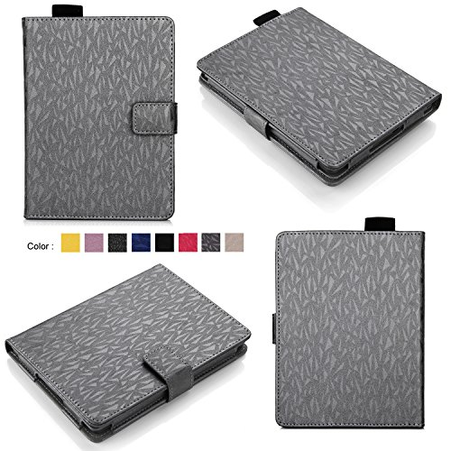 Bear Motion for Kindle 8th Generation Case - Premium Folio Case for All-New Kindle (8th Gen, 2016) - Gray with Imprint by Bear Motion