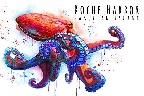 Roche Harbor, Washington - Octopus - Watercolor (18x12 Gallery Quality Metal Art)