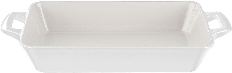 La Cuisine LC 8380, White Medium Deep Cast Iron Roasting Pan with Enamel Finish