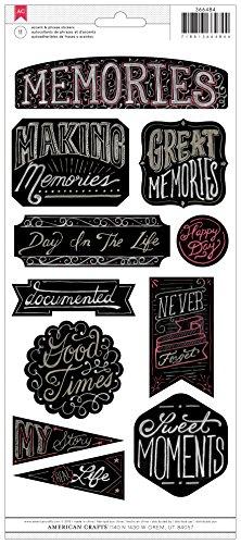 Memory Scrapbook Stickers - American Crafts Chalkboard Memories Sticker, 6 by 12