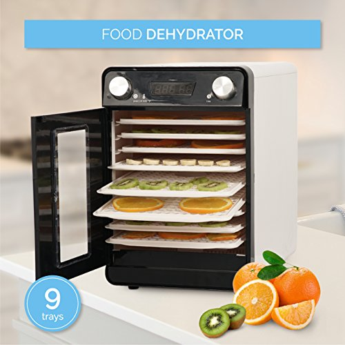 Thermostatically Controlled Blower - Della 9 Tray Commercial Food Fruit Jerky Dryer Drying Racks Temperature Settings and Timer Blower Dehydrator, White