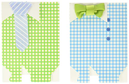 Haperlare 50 pcs My Little Man Candy Favor Boxes Boy Baby Shower Party Favor Boxes with Blue Green Bow Tie Ribbon Paper Candy Bags for Blue Green Gingham Party Decorations Supplies