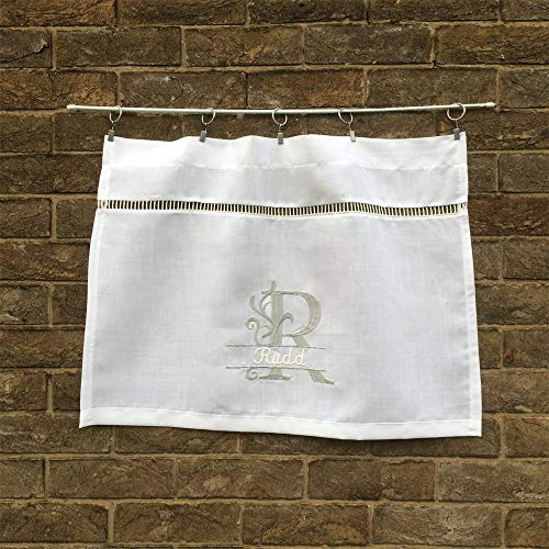 Custom Small White Linen Front Door Curtain, Personalized Name Monogram
