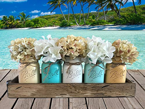 Mason JARS in Wood ANTIQUE WHITE Tray Sea Beach Centerpiece with 5 Ball PINT Jar -Distressed Kitchen Table Decor -Flowers (Optional)- BUTTERMILK, CARIB, WHITE, SEAFOAM, EGGNOG Painted Jars (Pictured) -