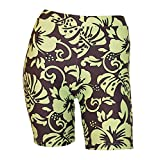 Private Island Hawaii UV Women Rash Guard Skinny Shorts Pants (Brown with Green)