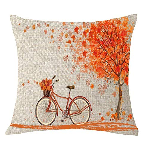 Autumn Leaves Pillow - Wencal Fall Autumn Big Tree Throw Pillow Case Marple Leaf Bicycle Cushion Cover Home Decorative for Sofa Bed Cotton Linen