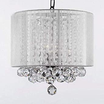 Crystal Chandelier Chandeliers With Large White Shade Balls H15 x W15