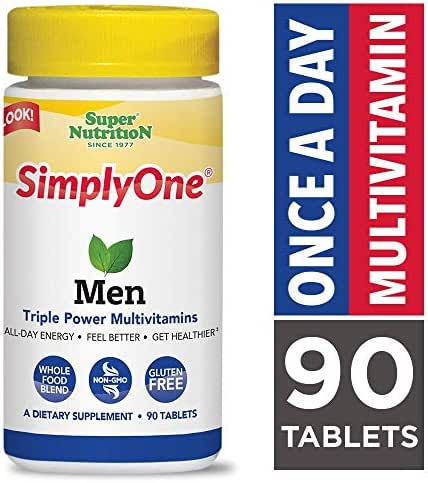 SimplyOne Multivitamin for Men, Daily All-In-One Vitamin by SuperNutrition, 90 Day Supply; Best Value Pack