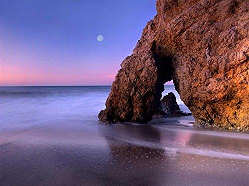 Sea arch and full moon over El Matador State Beach Malibu California Poster Print by Tim Fitzharris (11 x - Poster Matador Art