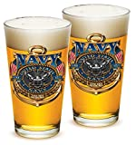 Pint Glasses – United States Navy Gifts for Men or Women – US Navy American Beer Glassware – The Sea Is Ours Glasses with Logo - Set of 2 (16 Oz)