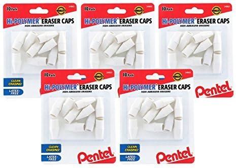 Bundle White Pack of 50 Pentel Hi-Polymer Non-Abrasive Latex-Free Eraser Caps