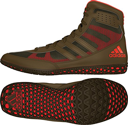 adidas Mat Wizard David Taylor Edition Men's Wrestling Shoes, Olive Green/Orange/Olive Green, Size 10 by adidas
