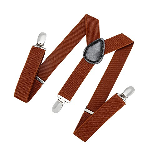 (Suspenders for Kids and Baby Adjustable Elastic Solid Color - Brown (26)