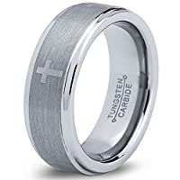 Tungsten Wedding Band Ring 8mm 6mm for Men Women Comfort Fit Grey Beveled Edge Brushed Cross FREE Custom Laser Engraving Lifetime Guarantee