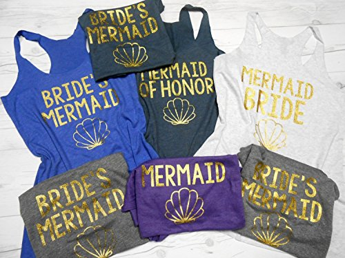 Set of 7 Mermaid Bachelorette Tanks, 7 Bridesmaid Tank Tops, 7 Bachelorette Party Tanks by Strong Girl Clothing