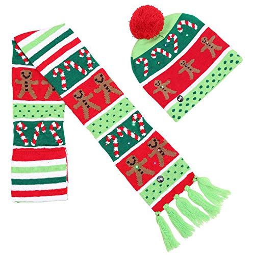 Christmas Ornaments Party Santa Hats Scarf Boys Girls Cap Color Christmas Halloween LED Light Knit hat,2