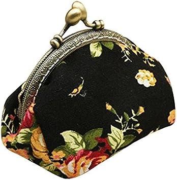Billetera Cartera Mujer Piel Yesmile Damas de Mujer Retro Vintage Carteras Cartera pequeña con Estampado de Flores Bolso de Cerrojo Bolsa de Embrague