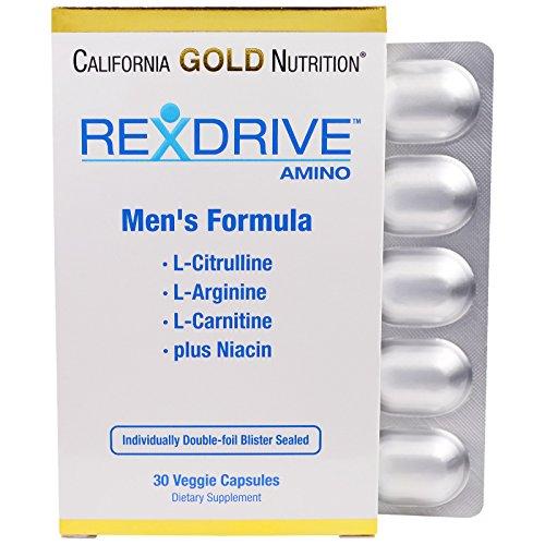 Amino Gold Capsules - California Gold Nutrition, Rexdrive Amino, Men's Formula - L-Citrulline, L-Arginine, L-Carnitine, Niacin, 30 Veggie Capsules