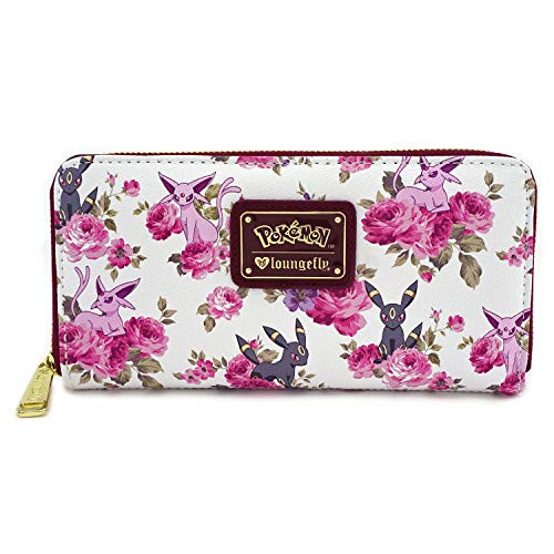 Loungefly x Pokemon Espeon Umbreon Floral Zip-Around Wallet (Multicolored, One Size) -