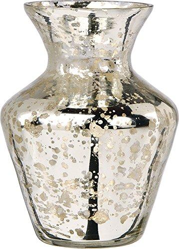 Luna Bazaar Vintage Mercury Glass Vase (4-Inch, Penelope Mini Urn Design,  Silver) - Decorative Flower Vase - For Home Decor, Party Decorations, and