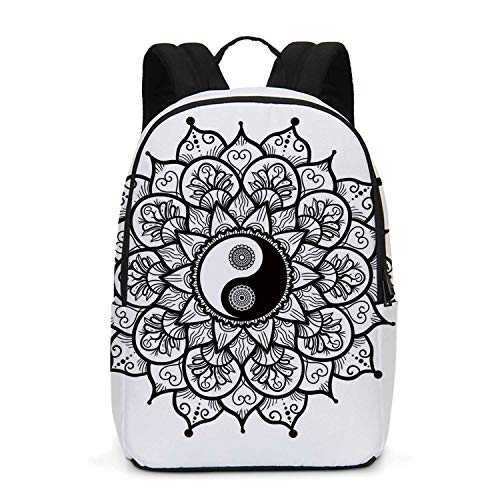 Ying Yang Durable Backpack,Retro Floral Yin Yang Design with Mandala Patterns Paisley Leaves Petals Boho for School Travel,One_Size ()