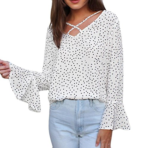 Trimmed Tube Top - Promotion! Women Long Sleeve Tops Clearance, Seaintheson Women's Sexy Wave Point Plus Size Casual Top Ladies Loose Blouse