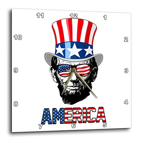 3dRose Carsten Reisinger - Illustrations - Abraham Lincoln Wearing a USA Flag top hat and Sunglasses America - 15x15 Wall Clock (DPP_293414_3)