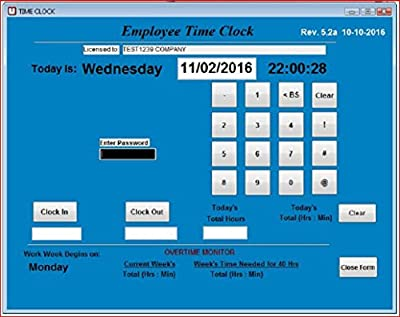 Employee Time Clock Software, Up to 100 Employees (Windows XP,Vista,7,8 or 10) , No Monthly Fees, Touch Screen Ready, No Punch Cards needed! 90 DAY RETURN GUARANTEE!