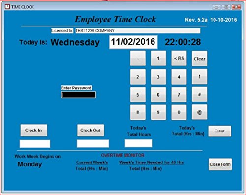 yee Time Clock Software, Single PC, Up to 100 Employees (Windows XP,Vista,7,8 or 10) , No Monthly Fees, Touch Screen Ready ()