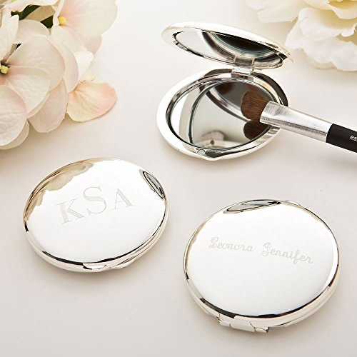 Engraved Silver plated Round Compact (Silver Plated Compact Mirror)