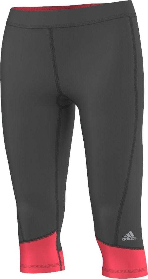 adidas Women's Techfit Capris, Dark Solid Grey/Shock Red, X-Small