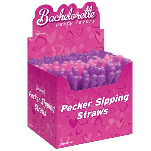 Bachelorette Party Favors Pecker Sipping Straws (Pink & Purple)