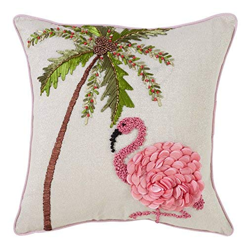 SARO LIFESTYLE Flamant Rose Design Holiday Flamingo Decorative Down Filled Throw Pillow 16